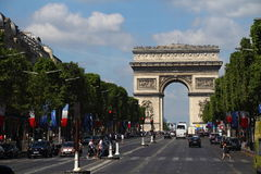 Arc de Triomphe on the Champs-Elysees Paris France Royalty Free Stock Photography
