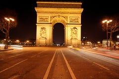 Arc de triomphe and champs élysées Stock Photos