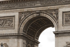 The Arc De Triomphe in close Detail. The Arc de Triomphe in Paris France Royalty Free Stock Photo