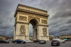 Arc De Triomphe on a Cloudy Day royalty free stock photos