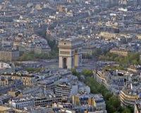 Arc de Triomphe da torre Eiffel Foto de Stock Royalty Free