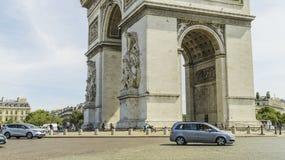 Arc de Triomphe de l`Étoile. The Arc de Triomphe de l`Étoile French pronunciation:Triumphal Arch of the Star is one of the most famous monuments in Paris Stock Photo