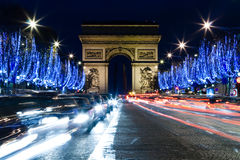 Arc de Triomphe de l'Etoile. And Champs Elysee in Paris Royalty Free Stock Image