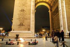 Arc de triomphe de letoile, Champs elysees, Paris, France. View of under the arc with the fire of life at the landmark of Paris standing at Avenue des champs Royalty Free Stock Photos