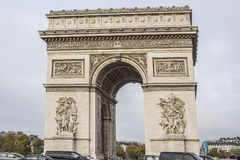 Arc de Triomphe de l'Etoile on Charles de Gaulle Place, Paris, France. Arc is one of the most famous monuments in Paris Royalty Free Stock Photography