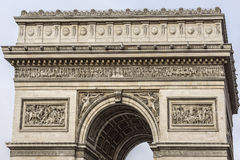 Arc de Triomphe de l'Etoile on Charles de Gaulle Place, Paris, France. Arc is one of the most famous monuments in Paris Stock Photography