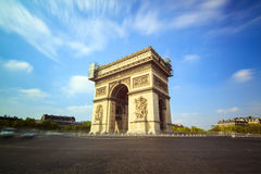 Arc de Triomphe de l'Etoile. Long exposure view of the Arc du Triomphe at the Place de Gaulle in Paris, France Royalty Free Stock Photos