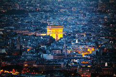 Arc de Triomphe de l'Etoile in Paris. Aerial view of Arc de Triomphe de l'Etoile (The Triumphal Arch) in Paris at night Stock Photography