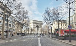 The arc de triomphe de l'etoile, Paris, france. View of the landmark of paris Royalty Free Stock Photo