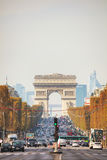 Arc de Triomphe de l`Etoile in Paris. PARIS - NOVEMBER 1: The Arc de Triomphe de l`Etoile on November 1, 2016 in Paris, France. It`s one of the most famous Stock Image