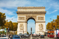 Arc de Triomphe de l'Etoile in Paris. PARIS - OCTOBER 10: The Arc de Triomphe de l'Etoile on October 9, 2014 in Paris, France. It's one of the most famous Royalty Free Stock Photos