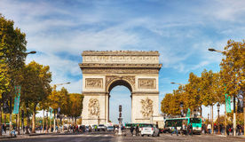 Arc de Triomphe de l'Etoile in Paris. PARIS - OCTOBER 10: The Arc de Triomphe de l'Etoile on October 10, 2014 in Paris, France. It's one of the most famous Stock Photography