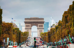 Arc de Triomphe de l'Etoile in Paris. PARIS - OCTOBER 13: The Arc de Triomphe de l'Etoile on October 13, 2014 in Paris, France. It's one of the most famous Royalty Free Stock Image