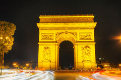 Arc de Triomphe de l'Etoile in Paris. Arc de Triomphe de l'Etoile (The Triumphal Arch) in Paris at night Royalty Free Stock Image