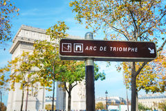 The Arc de Triomphe de l`Etoile sign. In Paris, France royalty free stock photo