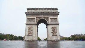 Arc de Triomphe de l'Etoile (The Triumphal Arch) in Paris. In the morning stock video