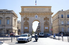 Arc de Triomphe de Montpellier. MONTPELLIER, FRANCE - AUGUST 14: Arc de Triomphe de Montpellier on on august 14, 2013 in Montpellier Stock Photos