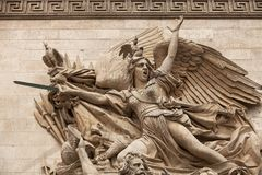 Arc de Triomphe. Details of sculptures adorning the Arc de Triomphe, Paris, France Royalty Free Stock Images