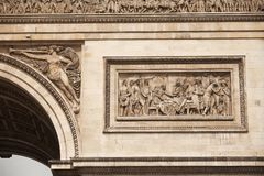 Arc de Triomphe. Details of sculptures adorning the Arc de Triomphe, Paris, France Stock Image