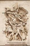 Arc de Triomphe. Details of sculptures adorning the Arc de Triomphe, Paris, France Royalty Free Stock Photography