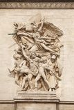 Arc de Triomphe. Details of sculptures adorning the Arc de Triomphe, Paris, France Stock Photography