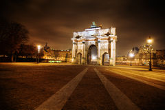 Arc de triomphe du Carousel. Night photography of the arc de triomphe du Carousel in Paris Royalty Free Stock Images