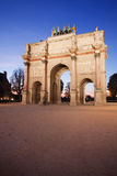 Arc de Triomphe du Carrousel. Paris: Arc de Triomphe du Carrousel  by night Stock Photo