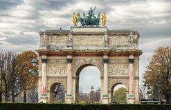 Arc de Triomphe du Carrousel. PARIS-NOV 09:Triumphal Arch (Arc de Triomphe du Carrousel) at Tuileries gardens in Paris,France on Nov 09,2012. The monument was Stock Photos