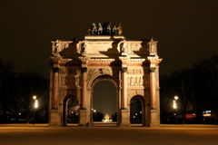 Arc de Triomphe du Carrousel. By night in Paris France next to Museum du Louvre Stock Image