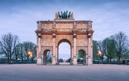 The Arc de Triomphe du Carrousel as the main entrance to the Louvre Museum. Royalty Free Stock Image