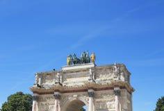 Arc de Triomphe du Carrousel. Bottom view of Arc de Triomphe du Carrousel at the entrance of Jardin De Tuileries in Paris Royalty Free Stock Image