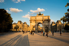 Arc de triomphe du carrousel. The Louvre Museum and the Arc de triomphe du carrousel Royalty Free Stock Photos