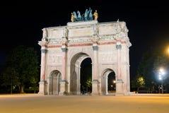 Arc de Triomphe du Carrousel at night Stock Photo