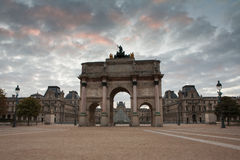 Arc de Triomphe du Carrousel, Paris, France. Triumphal Arch (Arc de Triomphe du Carrousel) at Tuileries gardens in Paris, France Royalty Free Stock Image