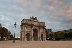 Arc de Triomphe du Carrousel, Paris, France. Triumphal Arch (Arc de Triomphe du Carrousel) at Tuileries gardens in Paris, France Royalty Free Stock Images