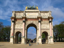 Arc de Triomphe du Carrousel, Paris, France. Smaller, but more elaborate than his counterpart on the other end of Champs-Elysees, Arc de Triomphe du Carrousel Royalty Free Stock Photos