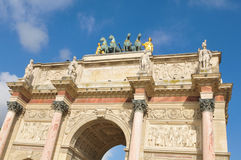 The Arc de Triomphe du Carrousel in Paris, France. Architectural detail of the Arc de Triomphe du Carrousel in Paris, France Royalty Free Stock Photo