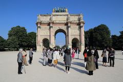 Arc de Triomphe du Carrousel in in Paris, France royalty free stock photo