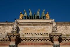 Arc de Triomphe du Carrousel in Paris. Paris, France - October 30, 2017: The Arc de Triomphe du Carrousel, a triumphal arch in Paris, located in the Place du Stock Photos