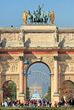Arc de Triomphe du Carrousel. Paris, France. PARIS - OCTOBER 07: Vertical oriented image of Triumphal Arch (aka Arc de Triomphe du Carrousel) in Tuileries Royalty Free Stock Photo