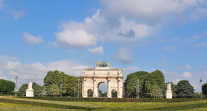 The Arc de Triomphe du Carrousel in Paris, France. View of the Arc de Triomphe du Carrousel in Paris, France Stock Photos