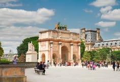 Arc de Triomphe du Carrousel, Paris,. PARIS- JULY 9 : Arc de Triomphe du Carrousel in Tuileries Garden at sunny day, Paris on July 9 2015, France Royalty Free Stock Photo