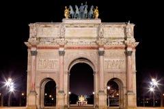 The Arc de Triomphe du Carrousel in Paris. The Arc de Triomphe du Carrousel at night in Paris, France Stock Photos
