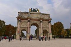 Arc de Triomphe du Carrousel in Paris. PARIS - SEPTEMBER 24: Arc de Triomphe du Carrousel built in 1806 to commemorate Napoleon's military victories, taken on Royalty Free Stock Images