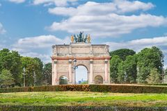Arc de Triomphe du Carrousel, Paris. Arc de Triomphe du Carrousel in Tuileries Garden at sunny day, Paris, France Stock Image