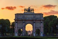 The Arc de Triomphe du Carrousel. At sunset in Paris, France Stock Photography