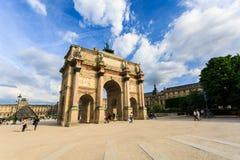 The Arc de Triomphe du Carrousel is a triumphal arch in Paris. Paris, France - May 29, 2017: The Arc de Triomphe du Carrousel is a triumphal arch in Paris Royalty Free Stock Photos