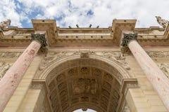 The Arc de Triomphe du Carrousel is a triumphal arch in Paris, located in the Place du Carrousel.  Stock Image