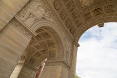 The Arc de Triomphe du Carrousel is a triumphal arch in Paris, located in the Place du Carrousel.  Stock Photo