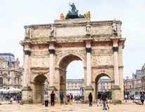 The Arc de Triomphe du Carrousel is a triumphal arch in Paris. Located in the Place du Carrousel Stock Photo